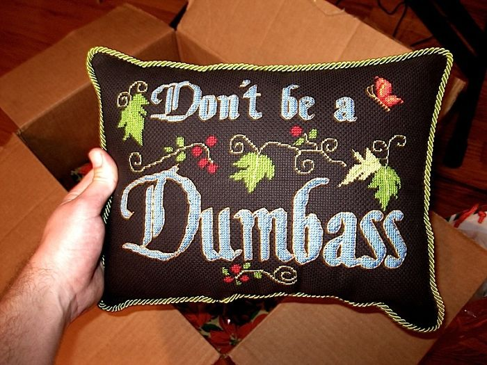 A Box Of Presents Just Arrived From Home. Instead Of A Card I Got This Wonderful Piece Of Advice From My Mother, In The Form Of An Embroidered Pillow (Which She Made Herself. I Love My Mom)