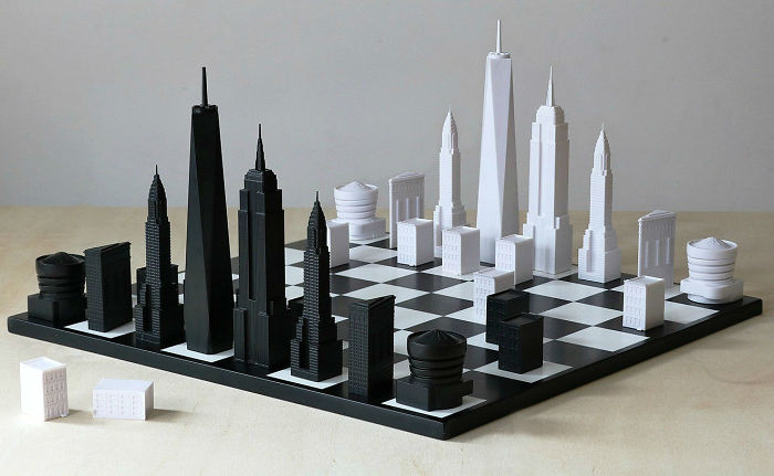 Architectural Landmarks Of New York City Featured In A Chess Set