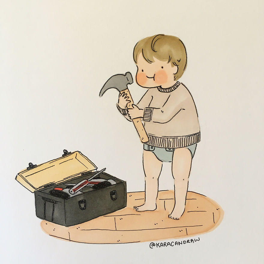 Baby Boy Busy Playing In Papa's Toolbox