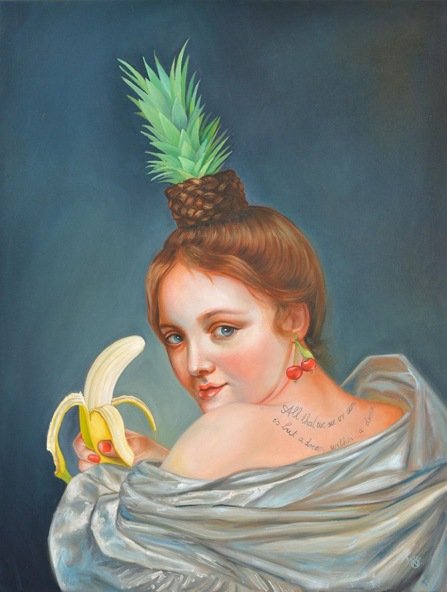 Персонажи старых картин помещаются в современные условия благодаря фантазии художницы