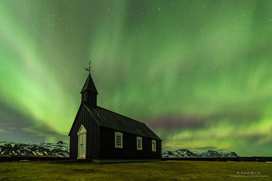 Búðakirkja With Its Unique Backlight