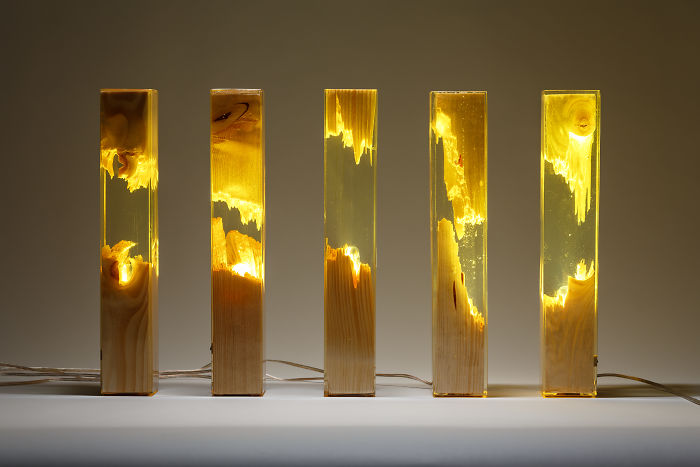 Torn Lamps Made From Wood And Resin By Guideco Design