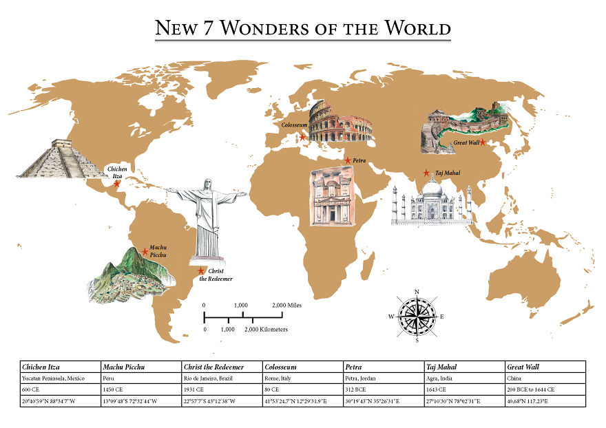 The New Map Of The World.I Created A Map Showing The New 7 Wonders Of The World Bored Panda