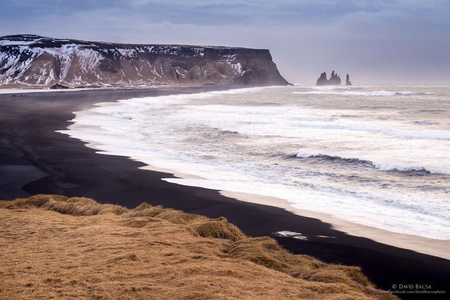 View Of The Famous Reynisfjara Black Sand Beach