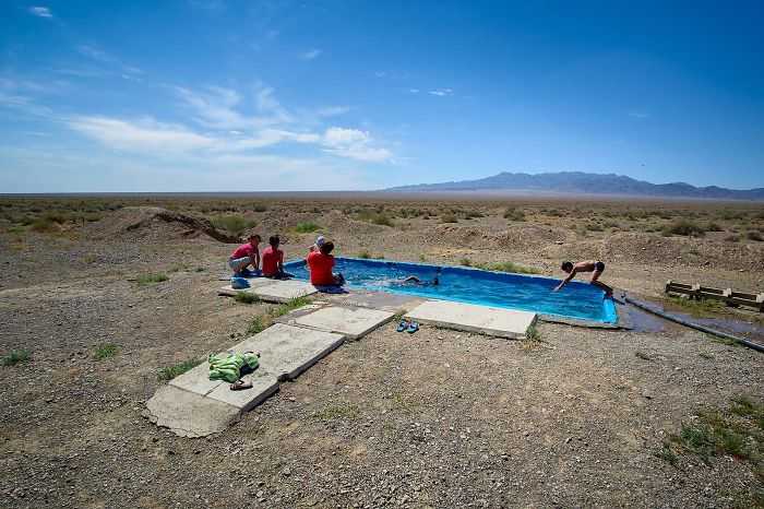 A Local Ranger That I Stayed With During One Of My Trips Built This Swimming Pool For His Family In A Middle Of A Desert