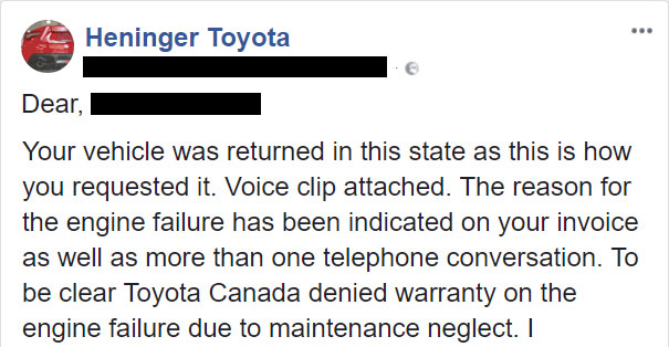 Woman Slams Toyota Dealership For Charging $800 And Destroying Her Car, So Toyota Shares What Really Happened 12