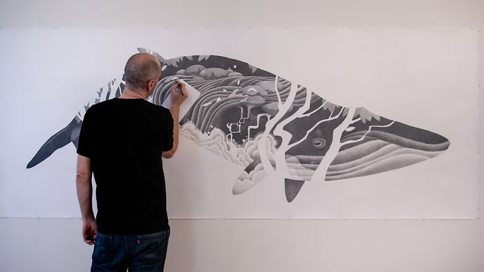 I Create Large-Scale Whale Drawings Using Hundreds Of Pencils As An Ode To My West Coast Home