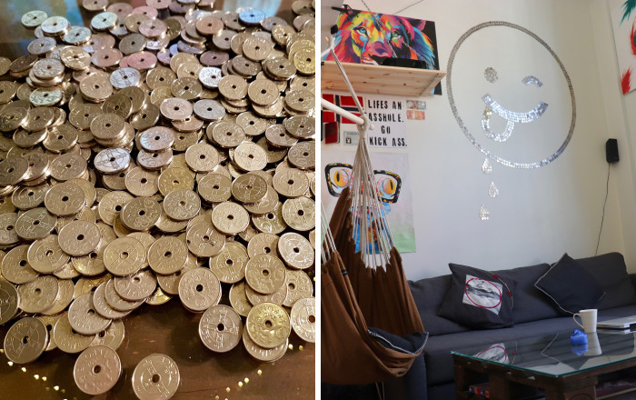 I Had +1,000 Coins Lying Around – So I Decided To Make Some Positive Wall Art With Them!