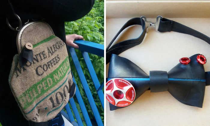 I Make Upcycled Accessories Out Of Used Bike Inner Tubes And Burlap Coffee Sacks
