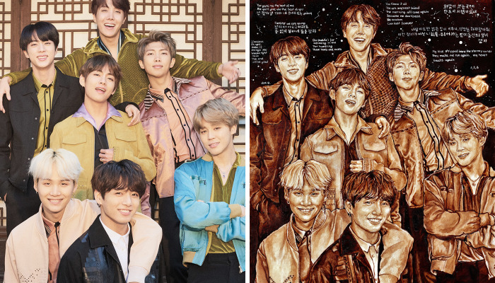 Celebrating Bts' No.1 On Billboard 200 With A New Illustration Done With Coffee