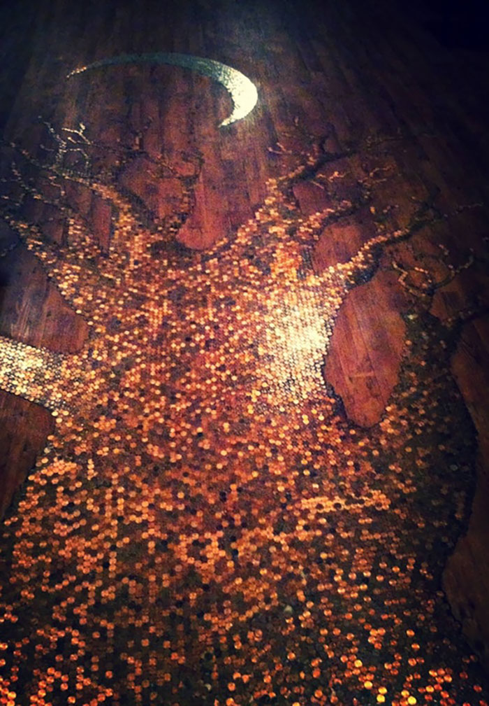 A Tree Made Of 24,000 Pennies On The Floor Of A Local Coffee Shop. And A $700 Moon