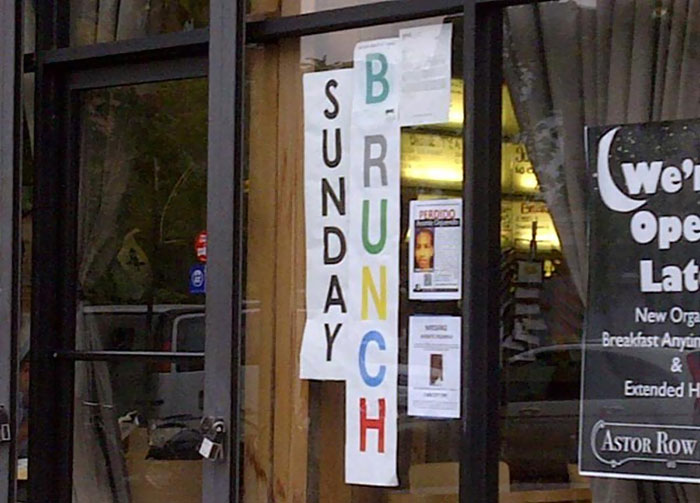 Shout Out To This Harlem Café Concealing Their 'B' Rating As A 'Brunch' Sign