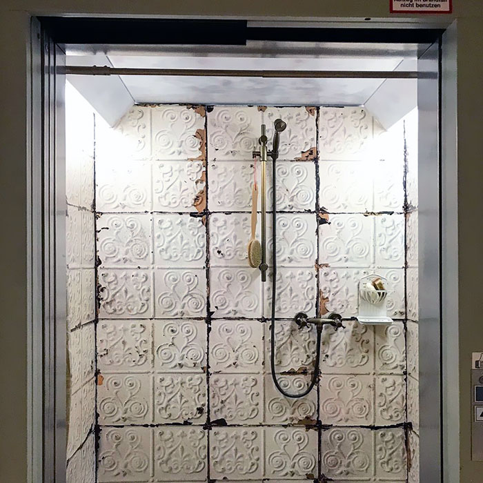Elevator Looking Like An Old Bathroom