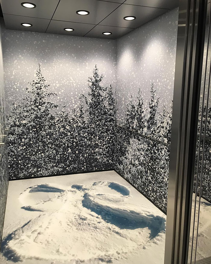 Winter Wonderland Inside Of An Elevator