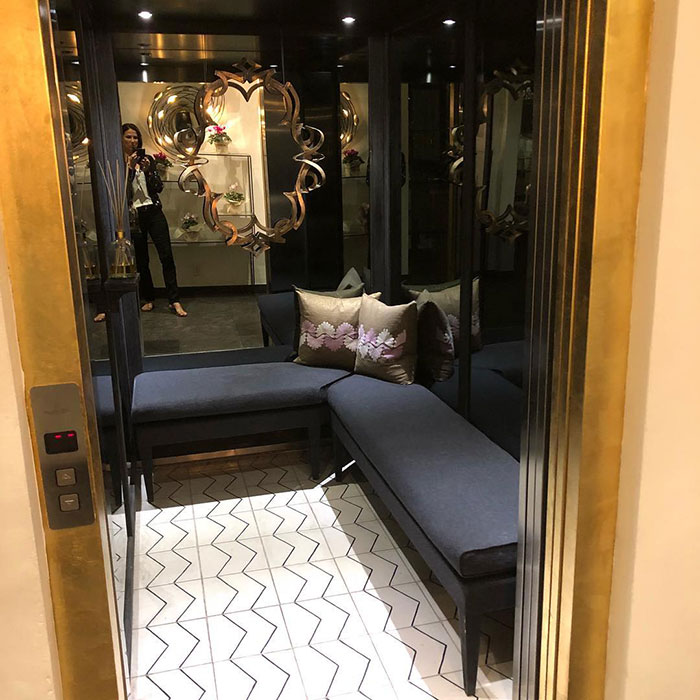 Fancy Elevator With Seats Inside