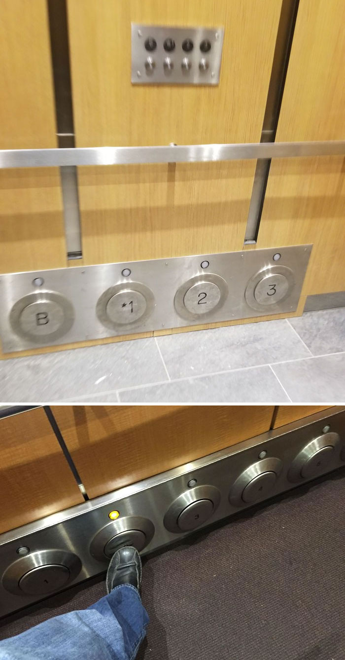 This Elevator Has Buttons You Can Kick