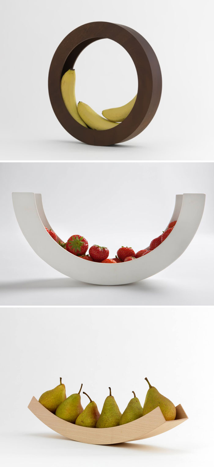 Minimalist Circular Fruit Bowls. Each Piece Of Fruit Added To Or Subtracted From The Mix Changes The Angle Of The Centerpiece