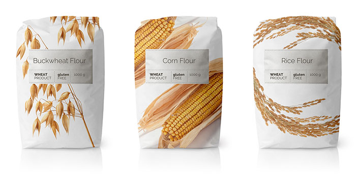Minimalist Packaging For A Series Of Flours