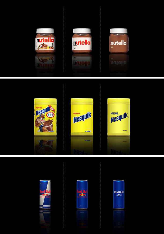 Conceptual Packaging Design For Well-Known Supermarket Products Created By Stripping Back The Existing Graphics In Stages