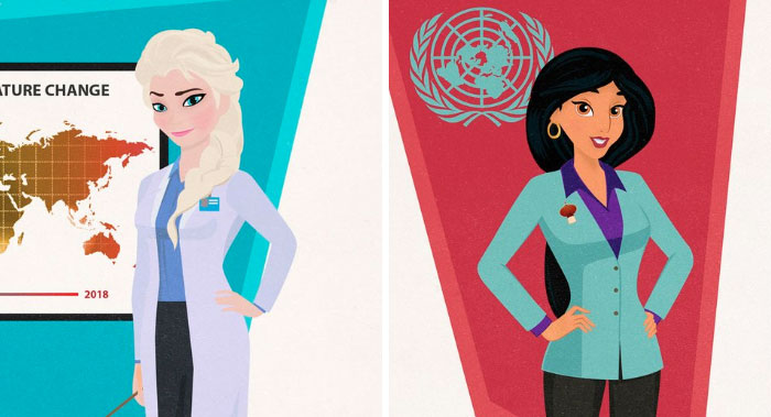 Illustrator Shows How Disney Princesses Would Look Like If They Pursued Careers In 2018, And The Result Is Awesome