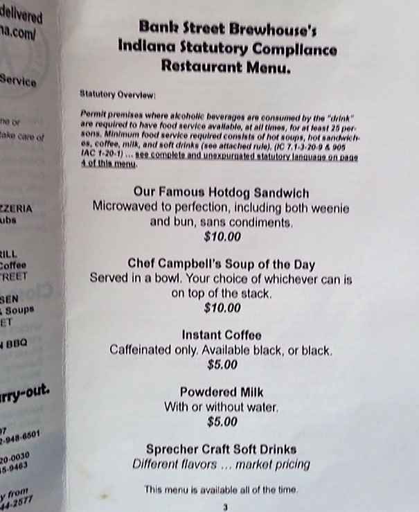 Our Local Bar Is Required To Serve Food As Part Of Their Liquor License
