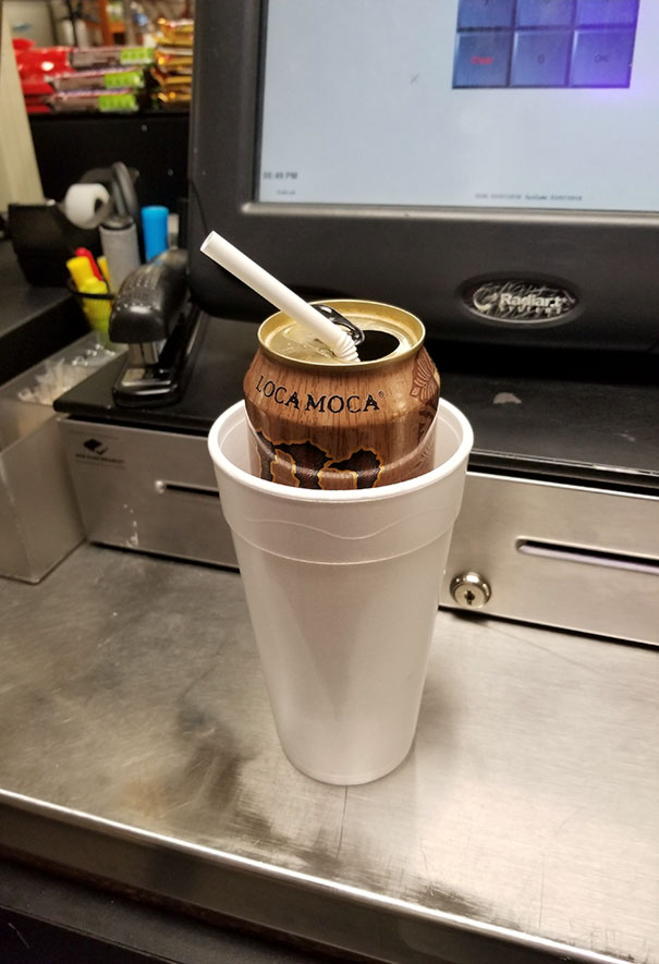 """Company's Policy: """"All Beverages Must Be In A Cup With A Straw""""... Too Amused To Argue With The Employee Loophole Discovered Tonight"""