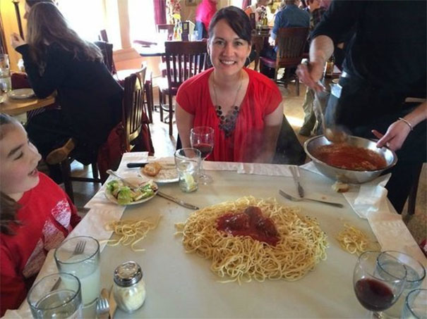 Communal Spaghetti Served On The Table