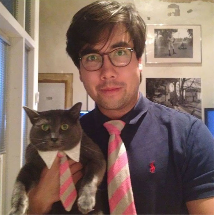 So For My B-Day My Mom Made Matching Ties For Me And My Cat