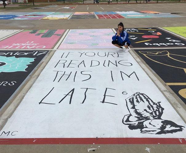 High School Seniors Painted Parking Spots