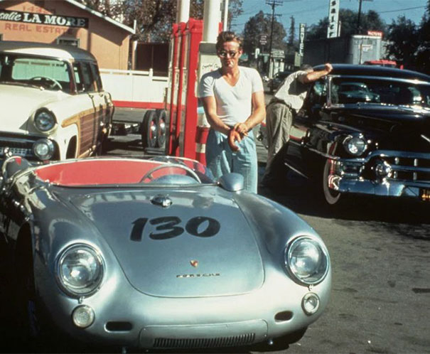James Dean Is Seen Here Getting Gas For His Porsche 550 Spyder Not Long Before He Crashed It And Died. Legend Has It That The Car Is Cursed, As It Was Involved In Several More Accidental Deaths Before Disappearing In The '60s