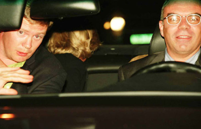 Diana Princess Of Wales (Head Turned Away In Backseat), Her Bodyguard, Trevor Rees-Jones, Left, And Driver Henri Paul Shortly On The Night Of August 31, 1997 Before The Fatal Crash