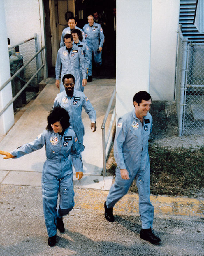 The Crew Of Space Shuttle Challenger On Their Way To Board. Challenger Broke Apart 73 Seconds Into Its Flight, Killing All Seven Crew Members