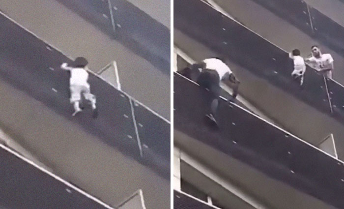 African Immigrant Climbs 4 Storeys With His Bare Hands In Less Than 30 Secs To Save 4-Year-Old Dangling From Balcony