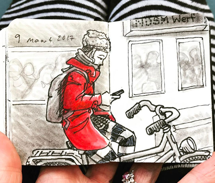 I Drew Sketches Of Passengers Taking The Ferry In Amsterdam