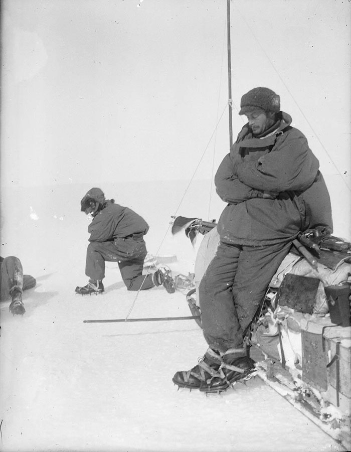 Mawson Rests At The Side Of Sledge, Outward Bound On First Sledge Journey In Adelie Land
