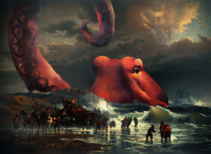 This Artist Modified An Antique Oil Painting To Include A Massive Sea Monster And Then Illuminated It