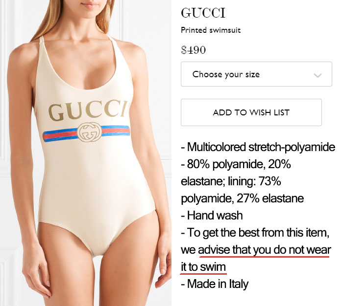 $490 Swimsuit That Suggests That You Don't Use It To Swim