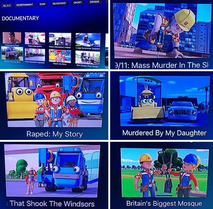 When Channel 5 Doesnt Have A Picture For A Show On Its Demand Service It Uses Bob The Builder Pictures For Hilarious Results