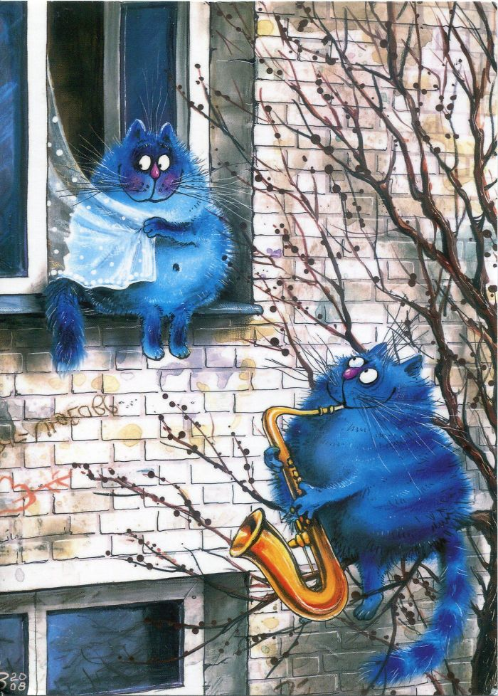 Artist Draws Lovely Blue Cats And The Result Is Charming