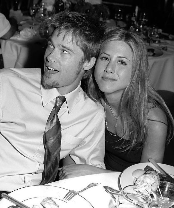 Jennifer Aniston & Brad Pitt At Courtney Cox's Wedding, 1999