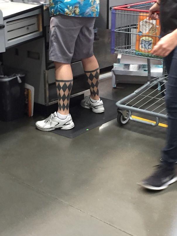 This Guy's Argyle Sock Tattoo