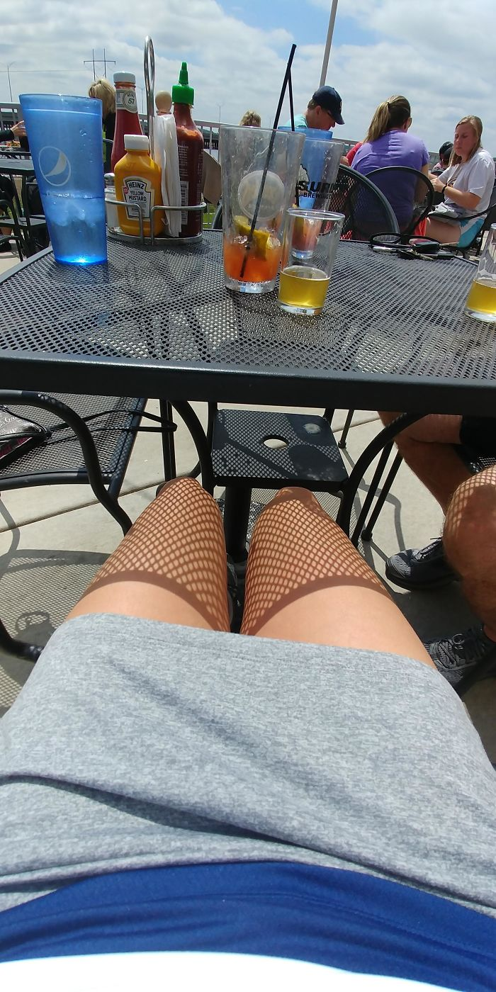 The Shadow Casted By This Table Makes It Look Like I'm Wearing Fishnet Stockings