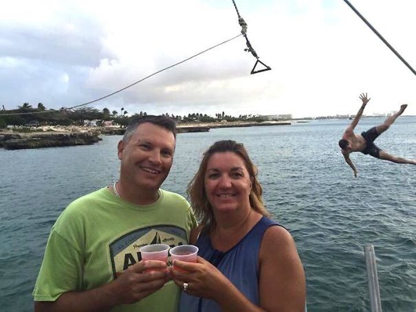 Took A Picture Of My Parents On A Boat With A Rope Swing. Attempted Back Flip Gone Wrong