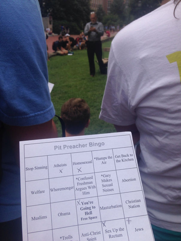 There's A Guy At A College That Rants Every Day About How Everyone Sins And Someone Made A Bingo Game To Go Along With Him