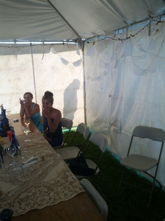 Drunk Guy Peeing Behind Tent At Wedding Reception
