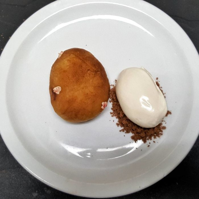 Cookie Dough Filled With Chocolate Sauce Served With Chantilly Cream... The Potato Dessert Illusion
