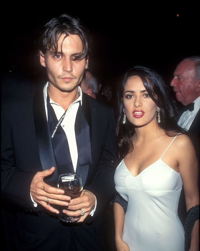 Salma Hayek Accompanies Johnny Depp On Red Carpet, 1995