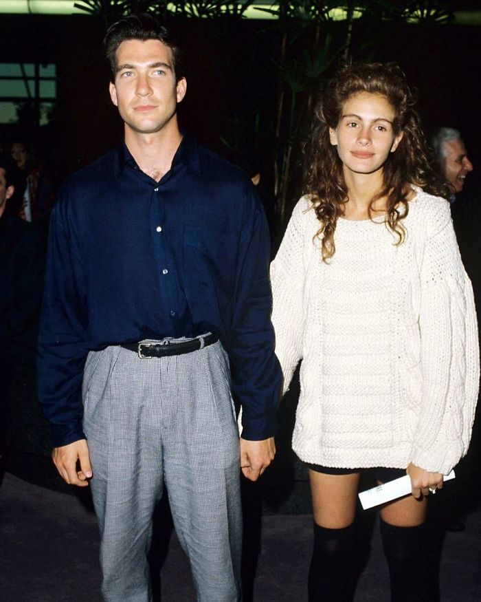 Julia Roberts In 1989, Just Before Her Big Role In Pretty Woman, Attending The Premiere Of Great Balls Of Fire With Then Boyfriend Dylan Mcdermott