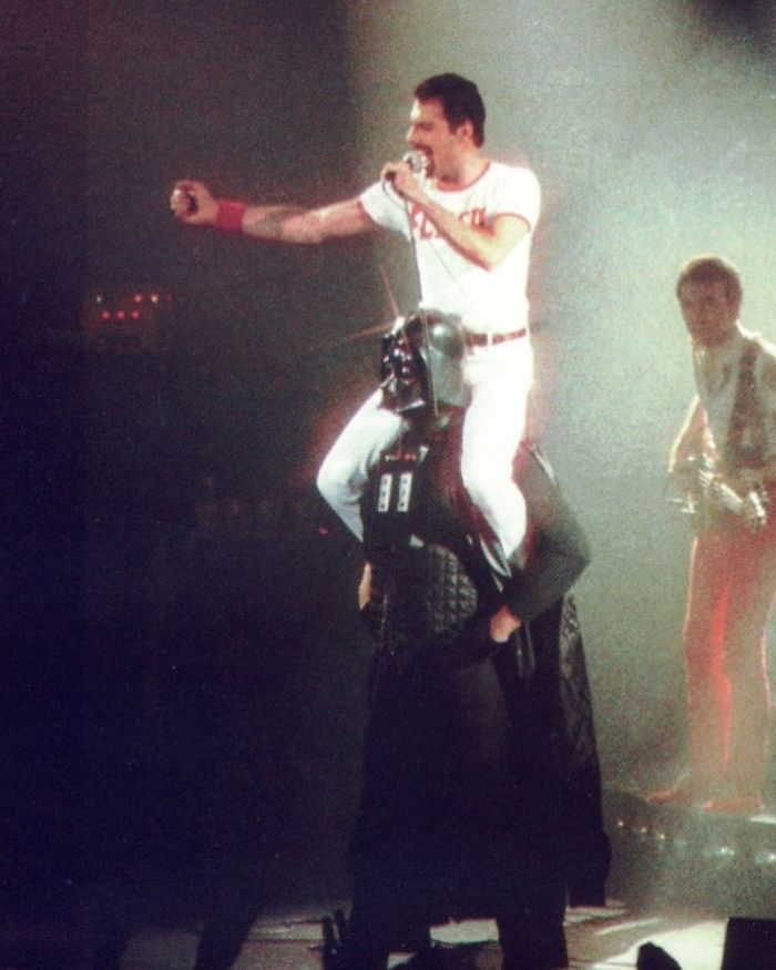 Freddie Mercury Riding Darth Vader In August, 1980