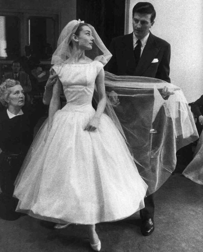 Audrey Hepburn Wearing One Of The Most Stunning Wedding Gowns, Designed By Her Life-Long Friend Hubert De Givenchy, For The Movie Funny Face